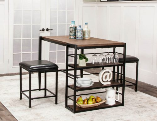 Rustic Elm Industrial Collection - Counter height pub table set - dining room setting CR-W3077-75