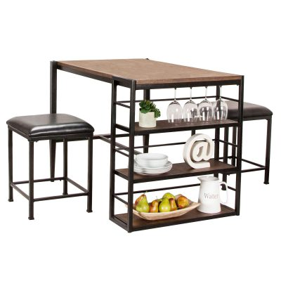 Rustic Elm Industrial Collection - Counter height pub table set - three-quarter view CR-W3077-75
