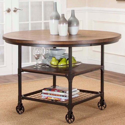 Rustic Elm Industrial Collection - Round dining table - three-quarter view CR-W3075-66