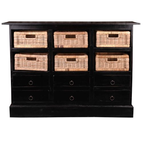 Shabby Chic Collection - 6 Drawer chest with baskets finished in antique black - front view CC-CAB918LD-AB-B