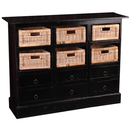 Shabby Chic Collection - 6 Drawer chest with baskets finished in antique black - three-quarter view CC-CAB918LD-AB-B