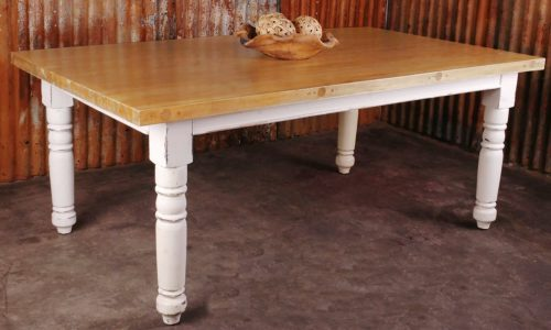 Shabby Chic Collection - 7-piece cottage dining set - table finished in distressed white with oak top in room setting CC-TAB1139SO4TLD-WWSV-7PC