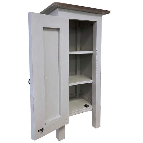 Shabby Chic Collection - Accent cabinet finished in antique gray - three-quarter view with door open CC-TAB1032LD-AGOJ