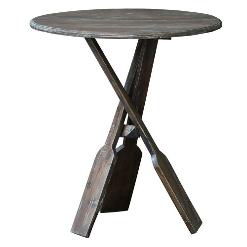 Shabby Chic Collection - Boat oar accent table finished in a brushed blue - front view CC-TAB813LD-BBR