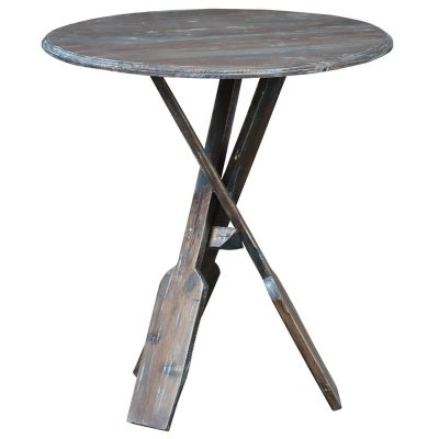 Shabby Chic Collection - Boat oar accent table finished in a brushed blue - three-quarter view CC-TAB813LD-BBR