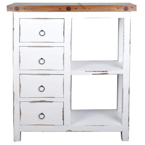 Shabby Chic Collection - Cabinet with two baskets and four drawers finished in distressed white - front view CC-CAB2228TLD-WWSV-B