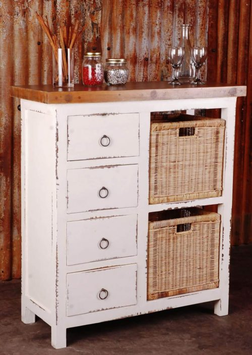 Shabby Chic Collection - Cabinet with two baskets and four drawers finished in distressed white - room setting CC-CAB2228TLD-WWSV-B