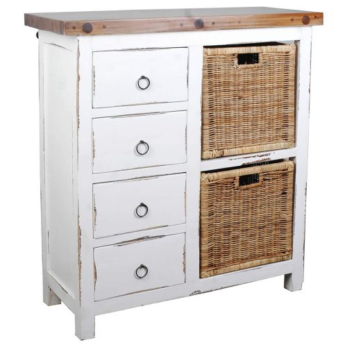 Shabby Chic Collection - Cabinet with two baskets and four drawers finished in distressed white - three-quarter view CC-CAB2228TLD-WWSV-B