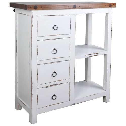 Shabby Chic Collection - Cabinet with two baskets and four drawers finished in distressed white - three-quarter view without baskets CC-CAB2228TLD-WWSV-B
