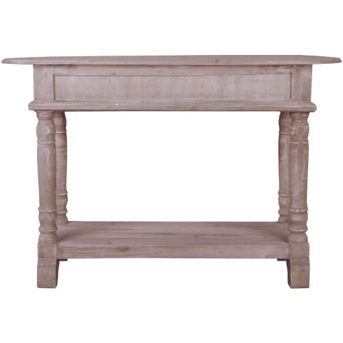 Shabby Chic Collection - Console table with drawers - finished in a distressed lime wash - back view CC-TAB2287S-LW