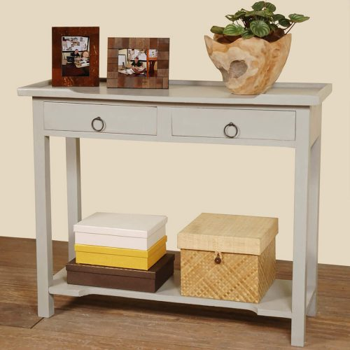 Shabby Chic Collection - Console table with drawers - finished in distressed antique gray - room setting CC-TAB2284LD-AG