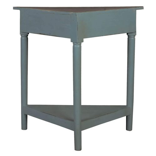 Shabby Chic Collection - Corner table with a drawer finished in distressed beach blue with a Raftwood top - back view CC-TAB179TLD-BBRW