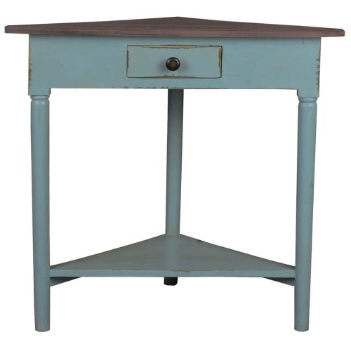 Shabby Chic Collection - Corner table with a drawer finished in distressed beach blue with a Raftwood top - front view CC-TAB179TLD-BBRW