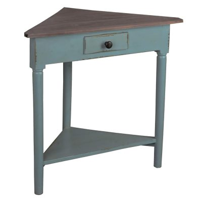 Shabby Chic Collection - Corner table with a drawer finished in distressed beach blue with a Raftwood top - three-quarter view CC-TAB179TLD-BBRW