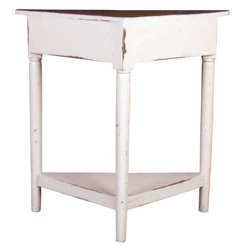 Shabby Chic Collection - Corner table with a drawer finished in distressed white with a Raftwood top - back view CC-TAB179TLD-WWRW