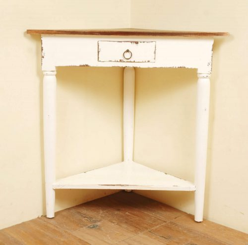 Shabby Chic Collection - Corner table with a drawer finished in distressed white with a Raftwood top - room setting CC-TAB179TLD-WWRW