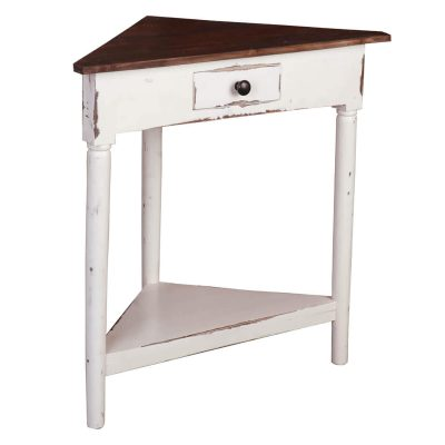 Shabby Chic Collection - Corner table with a drawer finished in distressed white with a Raftwood top - three-quarter view CC-TAB179TLD-WWRW