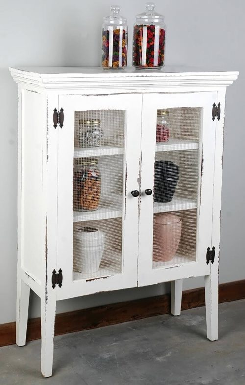 Shabby Chic Collection - Country cabinet with wire doors finished in distressed white - room setting CC-CAB1282LD-WW