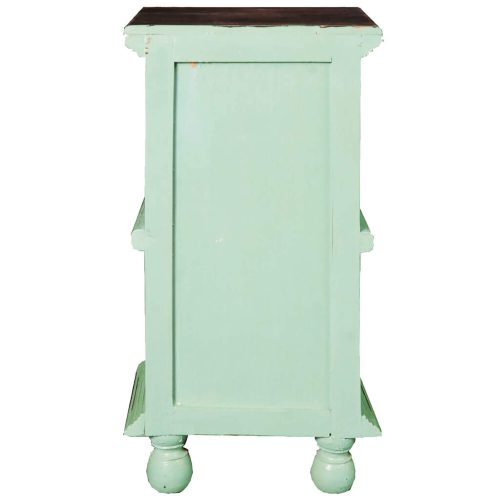 Shabby Chic Collection - End table finished in antique green with a Mahogany top back view CC-TAB016TLD-TERW-B