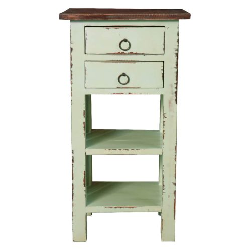 Shabby Chic Collection - End table finished in antique green with a Mahogany top - front view CC-TAB170TLD-BHRW