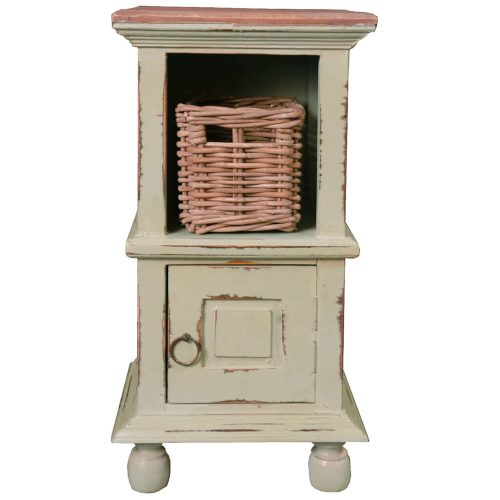 Shabby Chic Collection - End table finished in antique green with a Mahogany top front view with basket CC-TAB016TLD-CMRW-B