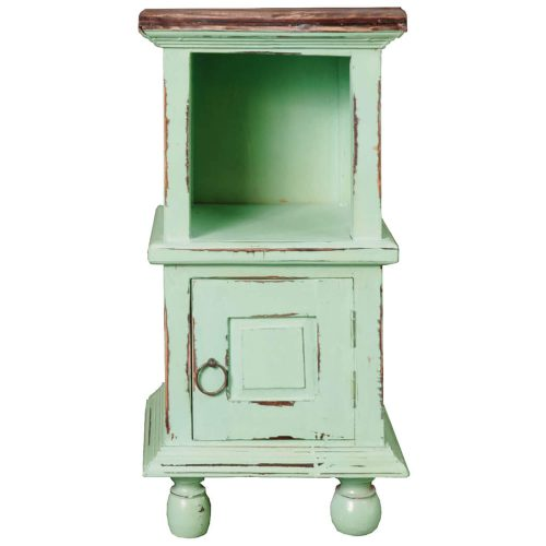 Shabby Chic Collection - End table finished in antique green with a Mahogany top front view without basket CC-TAB016TLD-TERW-B