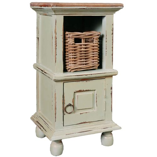 Shabby Chic Collection - End table finished in antique green with a Mahogany top three-quarter view CC-TAB016TLD-CMRW-B