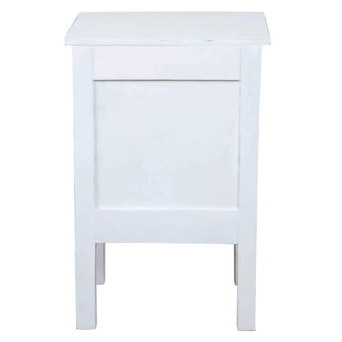 Shabby Chic Collection - End table finished in whitewash - back view CC-TAB098LD-WW