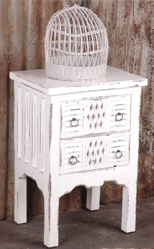 Shabby Chic Collection - End table finished in whitewash - room setting CC-TAB098LD-WW