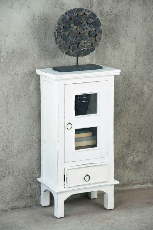 Shabby Chic Collection - End table with drawer and door finished in distressed white - room setting CC-CHE324LD-WW