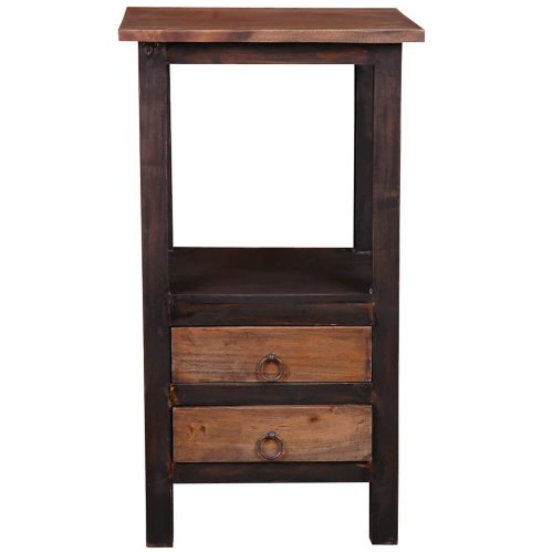 Shabby Chic Collection - End table with two drawers in a rustic finish - front view CC-TAB168TT-BWRW