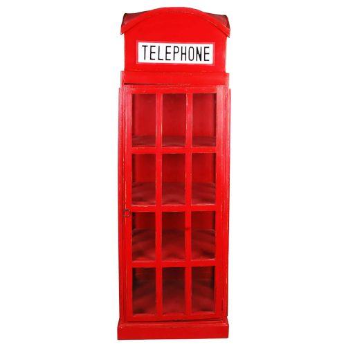 Shabby Chic Collection English Phone Booth Cabinet in Red front view CC-CAB064LD-RD