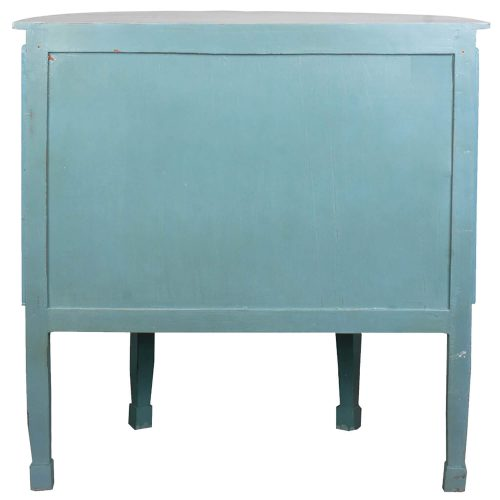 Shabby Chic Collection - Half-round cabinet finished in distressed beach blue with a Mahogany top - back view CC-CHE090TLD-BBLW