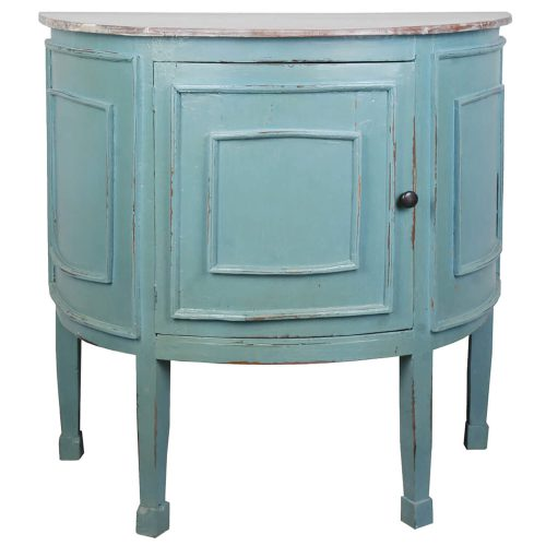 Shabby Chic Collection - Half-round cabinet finished in distressed beach blue with a Mahogany top - front view CC-CHE090TLD-BBLW