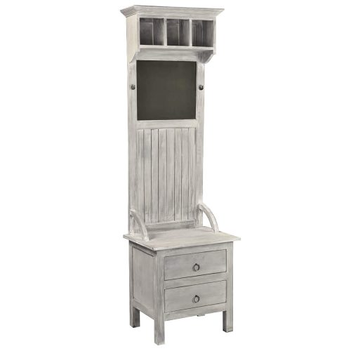 Shabby Chic Collection - Hall tree with chalkboard finished in a Gray wash - three-quarter view - CC-CAB251S-SW