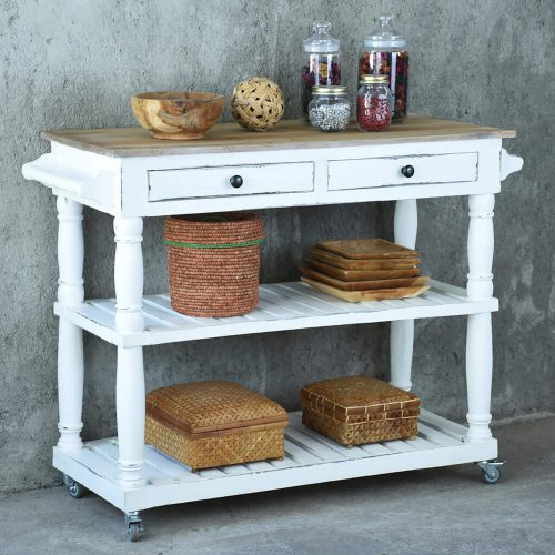 Shabby Chic Collection - Kitchen Island cart with drawers and shelves - finished in distressed white with a natural top - room setting CC-TAB192TLD-WWCFSV