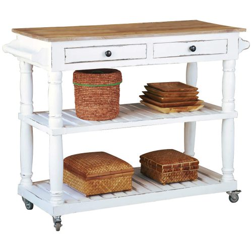 Shabby Chic Collection - Kitchen Island cart with drawers and shelves - finished in distressed white with a natural top - three-quarter view CC-TAB192TLD-WWCFSV