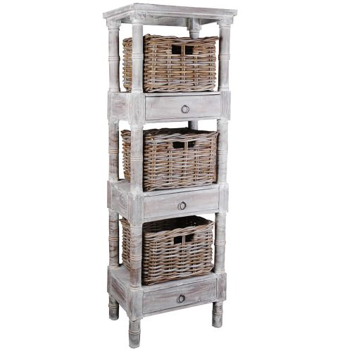 Shabby Chic Collection - Mahogany shelves finished in distressed gray - three-quarter view with baskets CC-RAK035S-LW