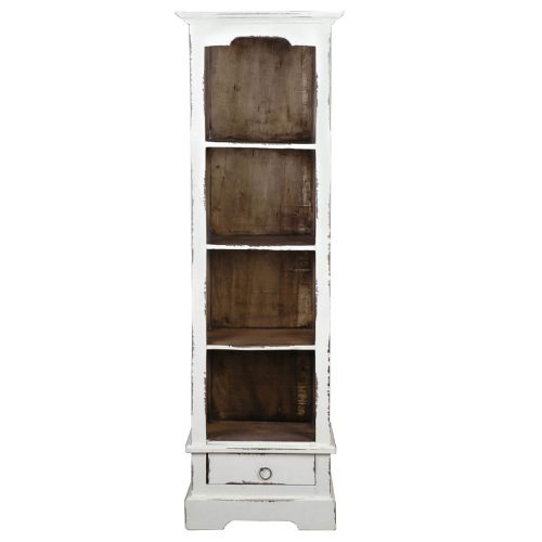 Shabby Chic Collection - Narrow bookcase finished in a distressed white - front view CC-CAB1917TLD-WWRW