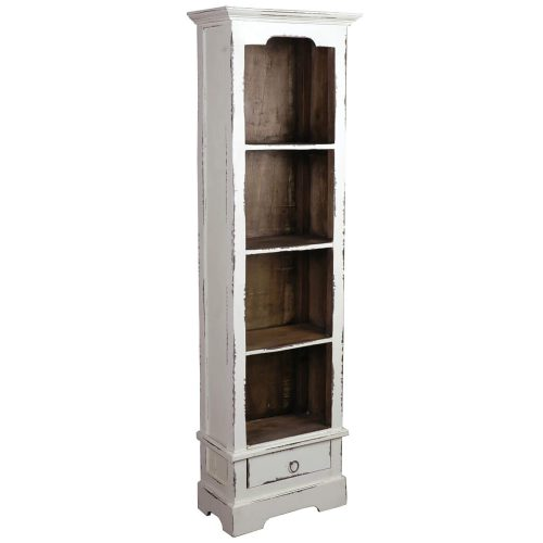 Shabby Chic Collection - Narrow bookcase finished in a distressed white - three-quarter view CC-CAB1917TLD-WWRW