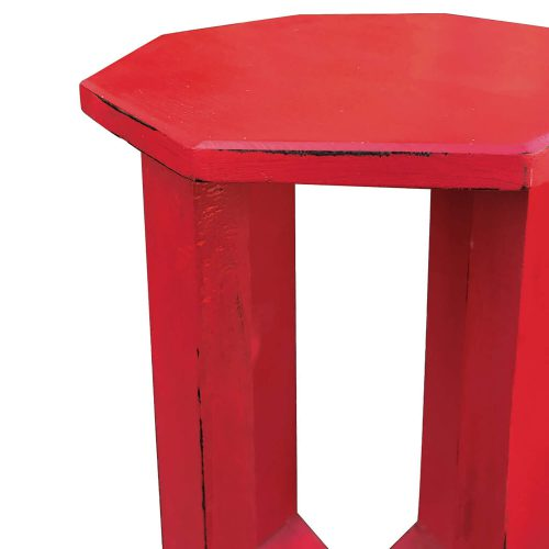 Shabby Chic Collection - Octagon side table finished in antique red - detail of top CC-TAB500LD-AR