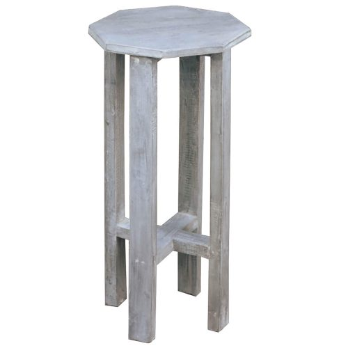 Shabby Chic Collection - Octagon side table finished in stonewall gray - three-quarter view CC-TAB500S-SW