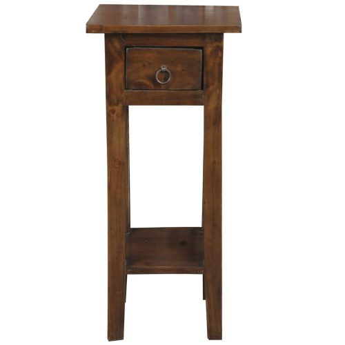 Shabby Chic Collection - Side table finished in a distressed Java brown - front view CC-TAB1792S-OJ