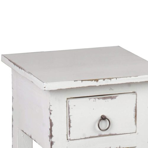 Shabby Chic Collection - Side table finished in a distressed whitewash - detail of drawer and top CC-TAB1792LD-WW