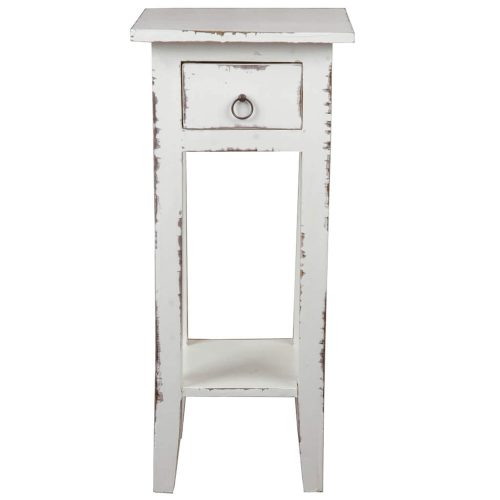 Shabby Chic Collection - Side table finished in a distressed whitewash - front view CC-TAB1792LD-WW