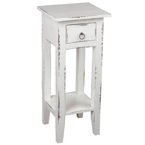 Shabby Chic Collection - Side table finished in a distressed whitewash - three-quarter view CC-TAB1792LD-WW