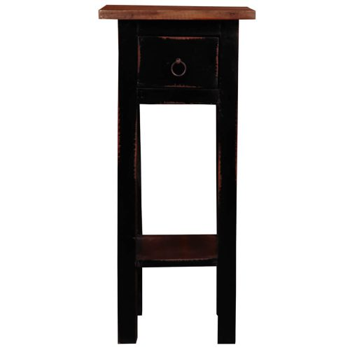 Shabby Chic Collection - Side table finished in antique black and a Raftwood top - front view CC-TAB1792TLD-ABRW