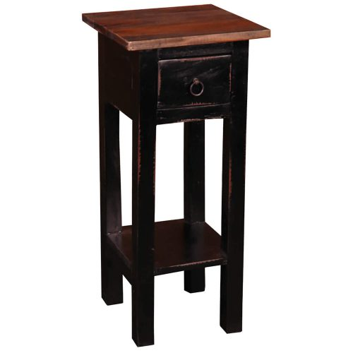 Shabby Chic Collection - Side table finished in antique black and a Raftwood top - three-quarter view CC-TAB1792TLD-ABRW