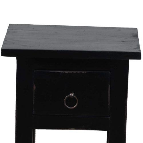 Shabby Chic Collection - Side table finished in antique black - detail of top and drawer CC-TAB1792LD-AB