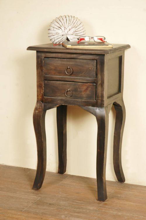 Shabby Chic Collection - Side table with two drawers finished in distressed Mahogany - room setting CC-TAB1793S-VI